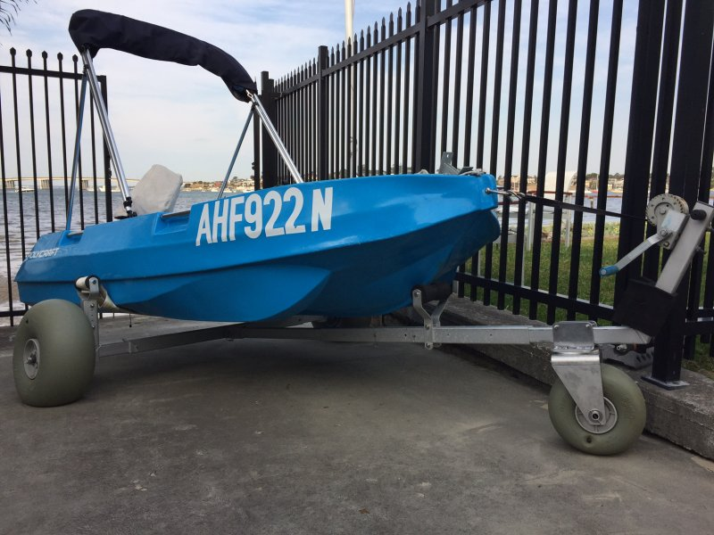 A 3m Polycraft shown, with a Custom Winch Kit added to this Boat Dolly