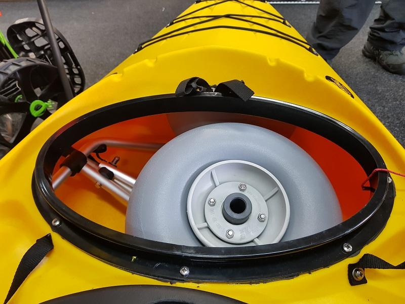 The KCB will fit inside the hatch of the 'Viking Reload Kayak' and others…